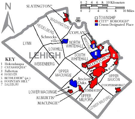 Map of Lehigh County pa Map of Lehigh County pa