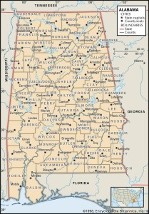 Map of Alabama county boundaries and county seats.