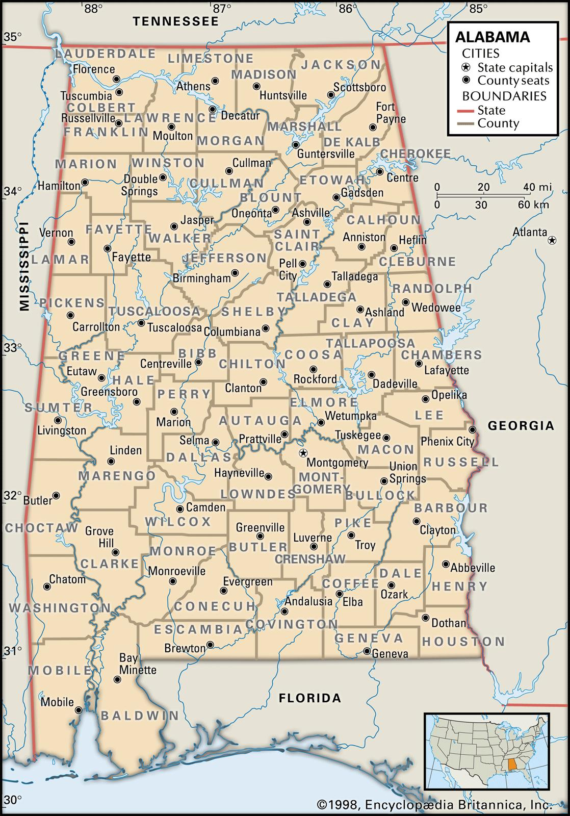 Alabama Maps And Atlases - Fl map with counties and cities