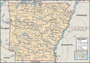 Map of Arkansas county boundaries and county seats.