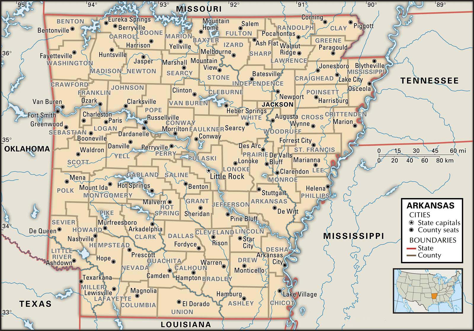 Map Of Arkansas County Boundaries And County Seats