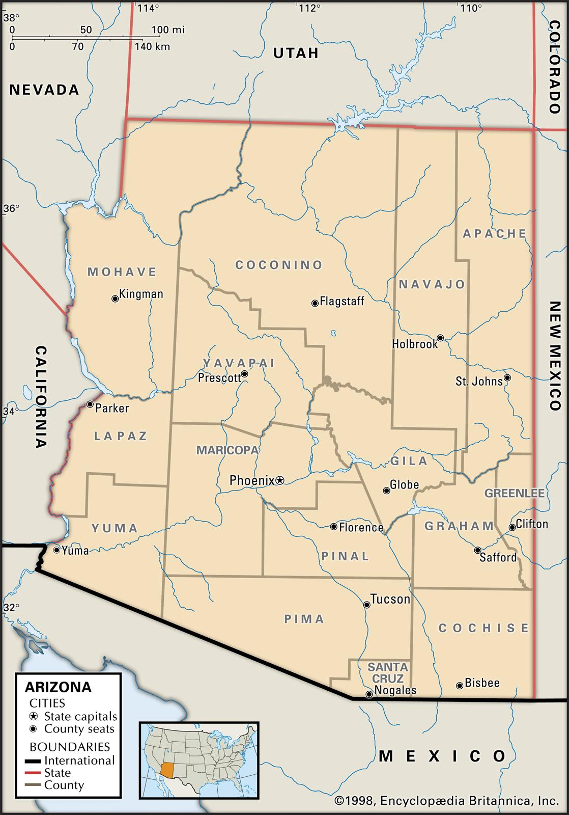 image regarding Printable Map of Tucson Az referred to as Country and County Maps of Arizona