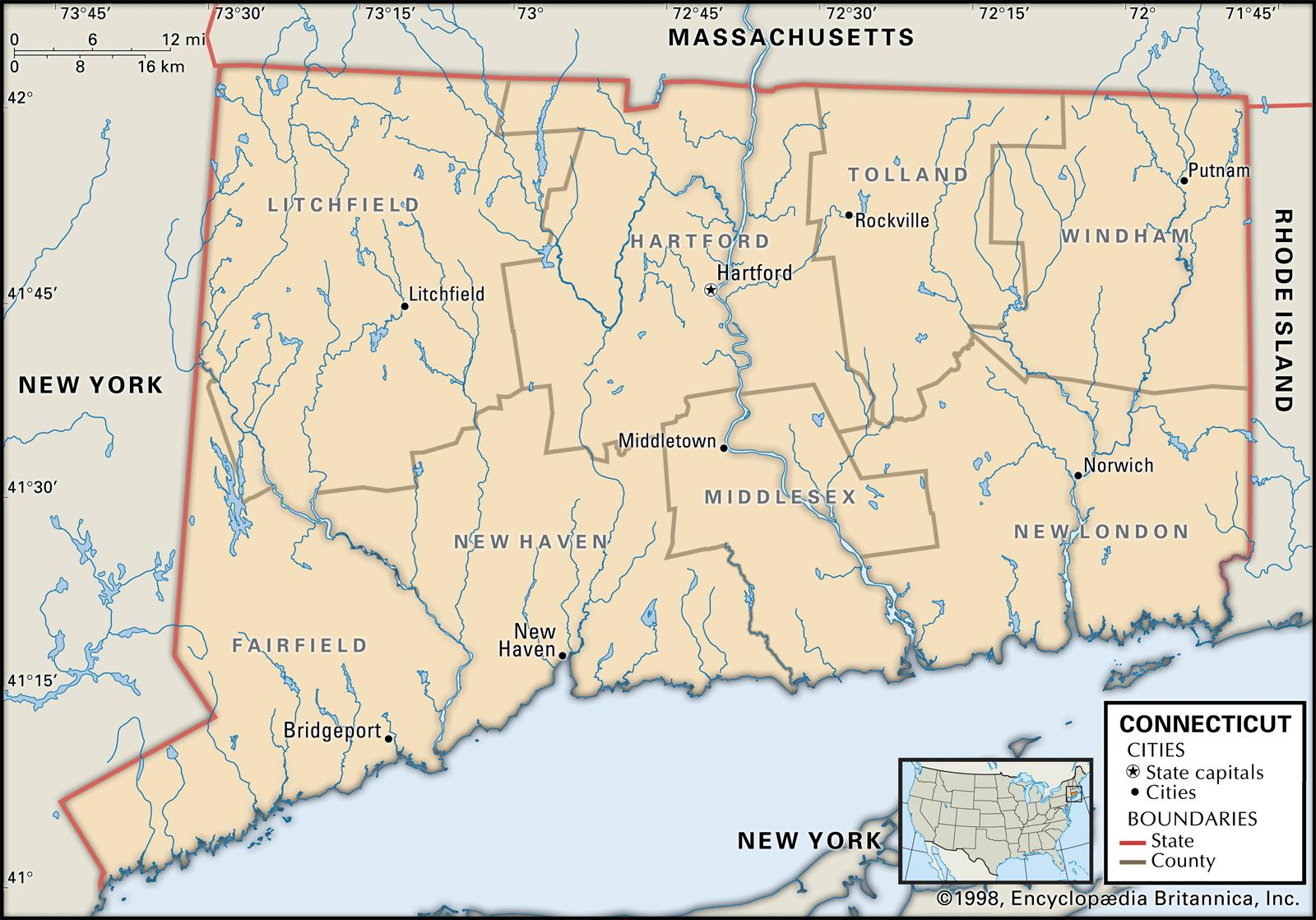 Connecticut In Us Map.State And County Maps Of Connecticut