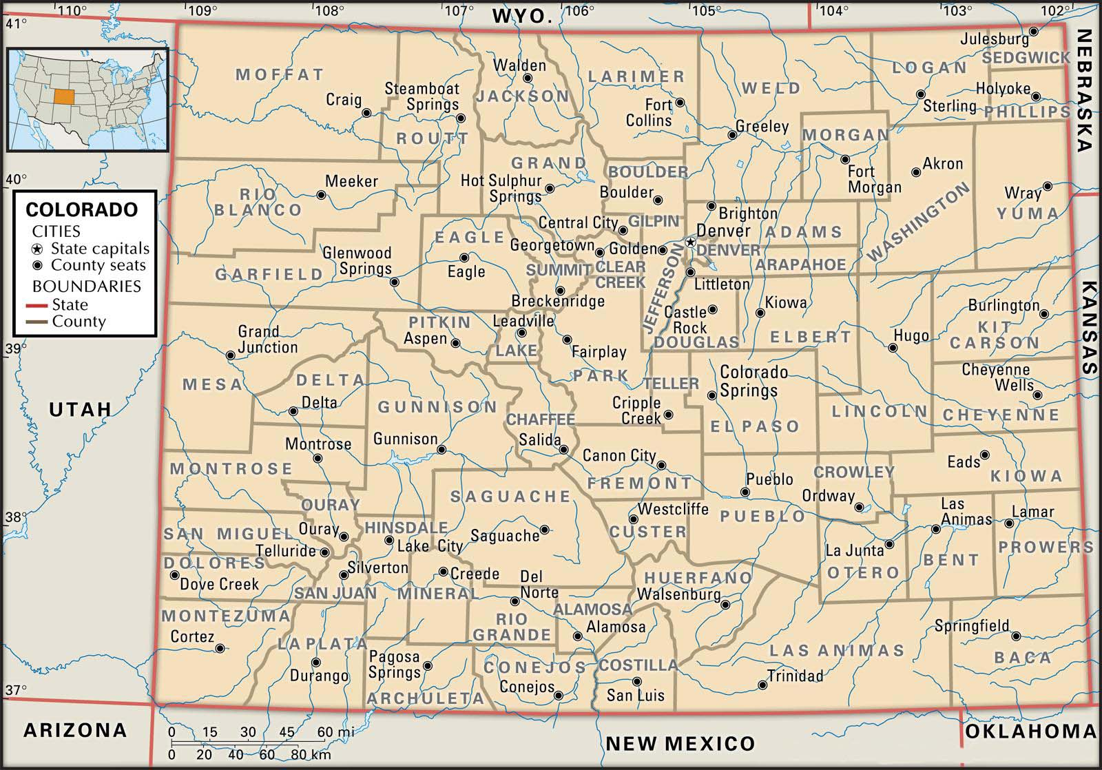 image regarding Printable Map of Colorado named Place and County Maps of Colorado