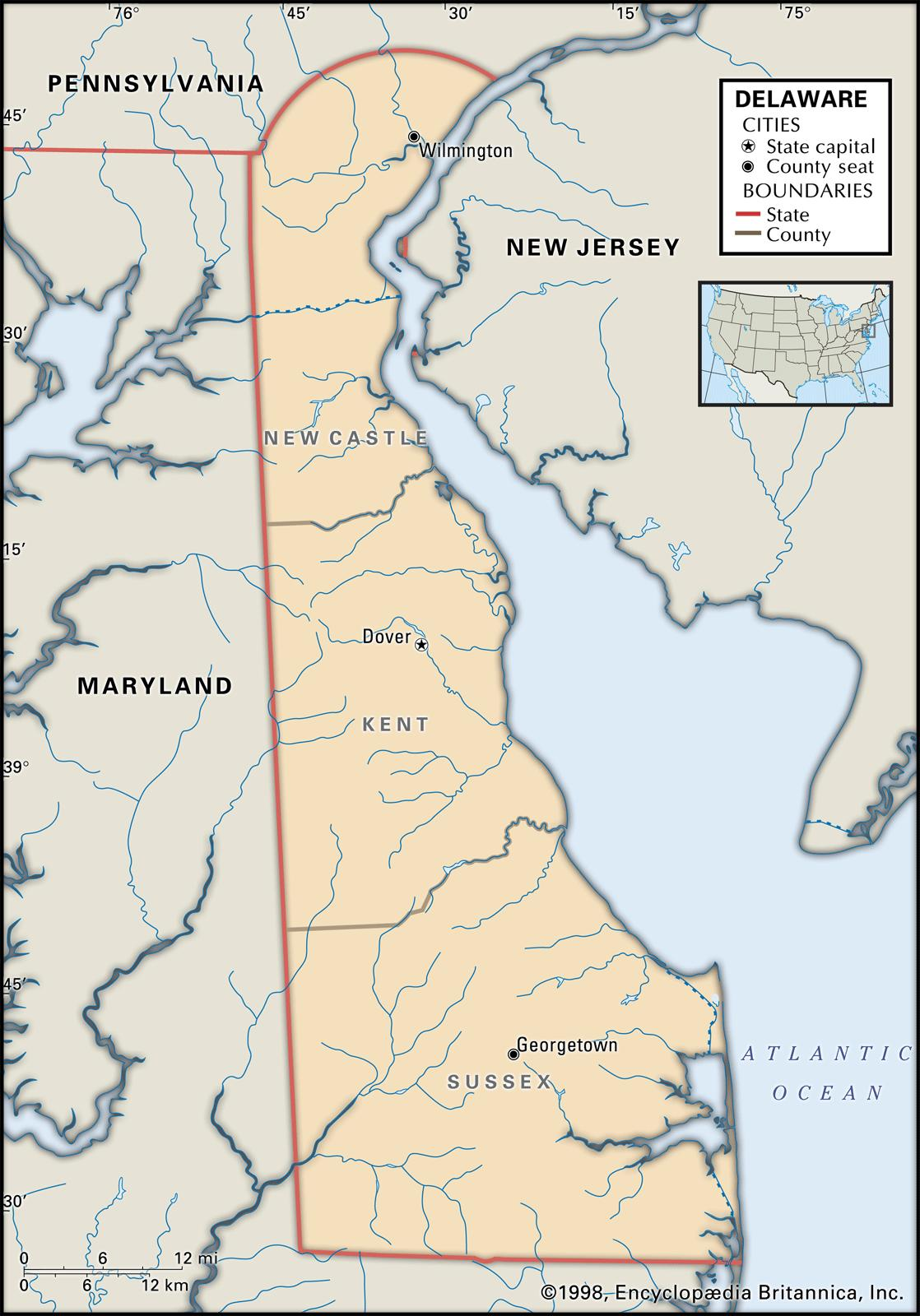 State and County Maps of Delaware MAP OF DELAWARE
