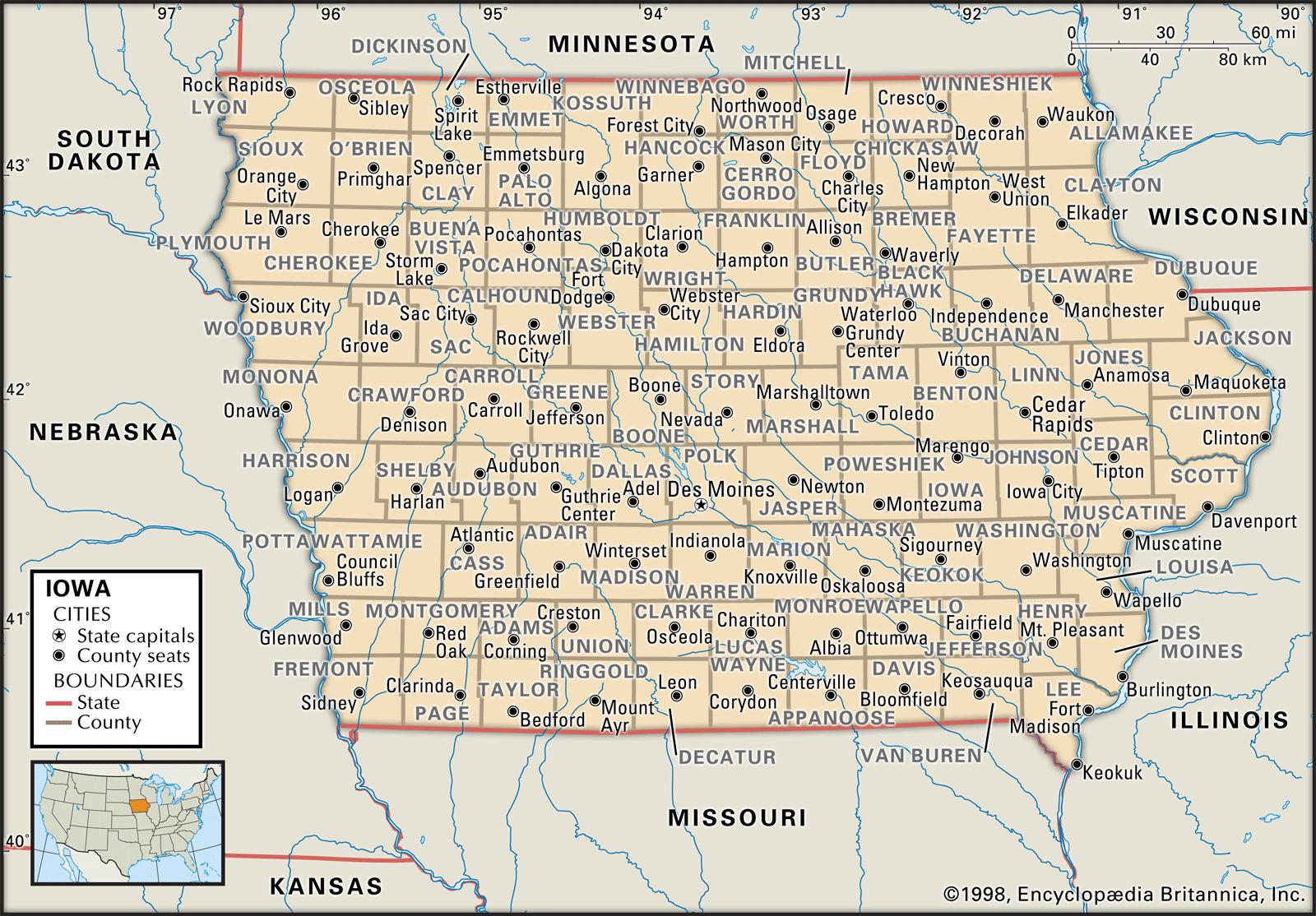 State and County Maps of Iowa on