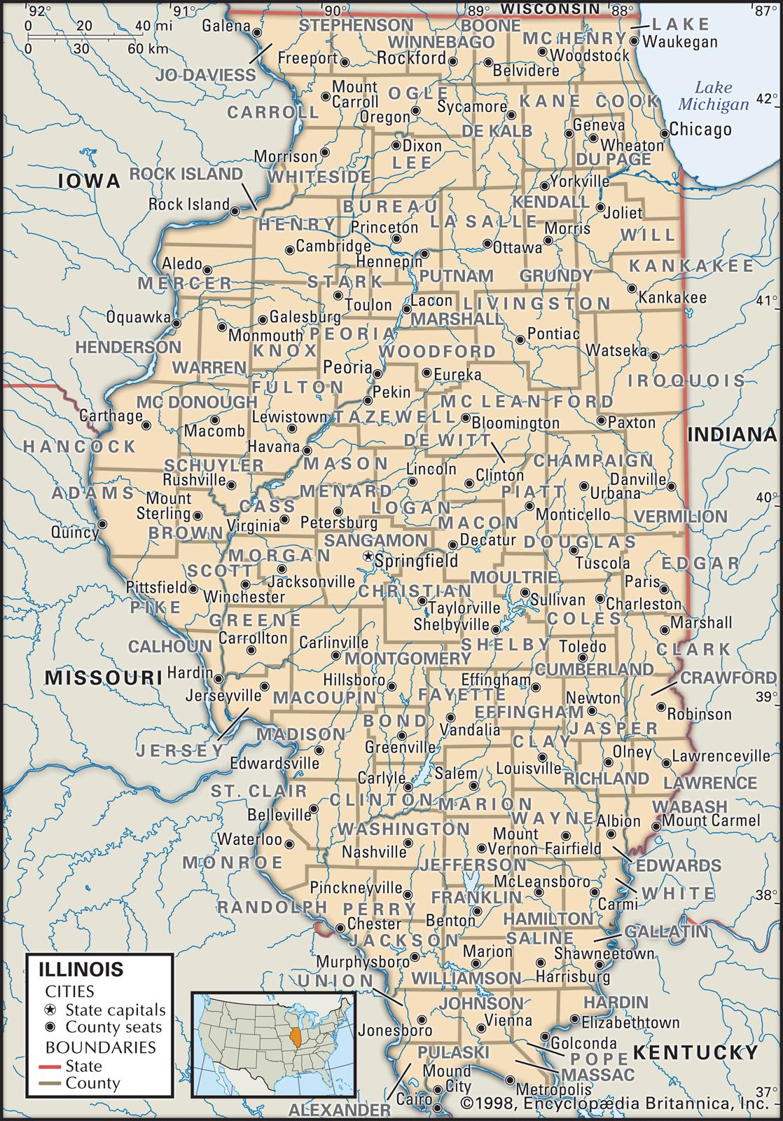 Southern Illinois Map With Cities.State And County Maps Of Illinois