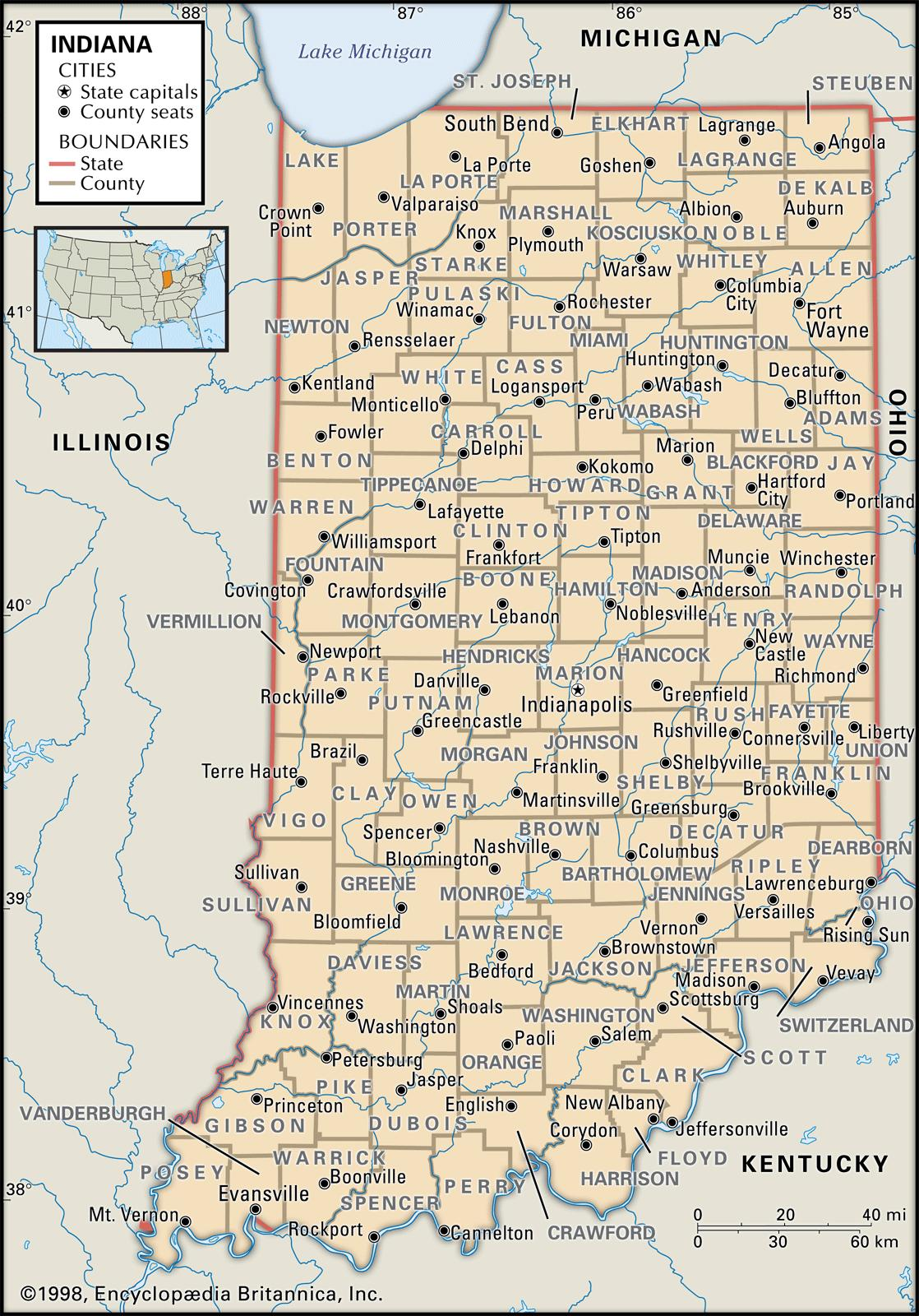 State and County Maps of Indiana MAP OF INDIANA