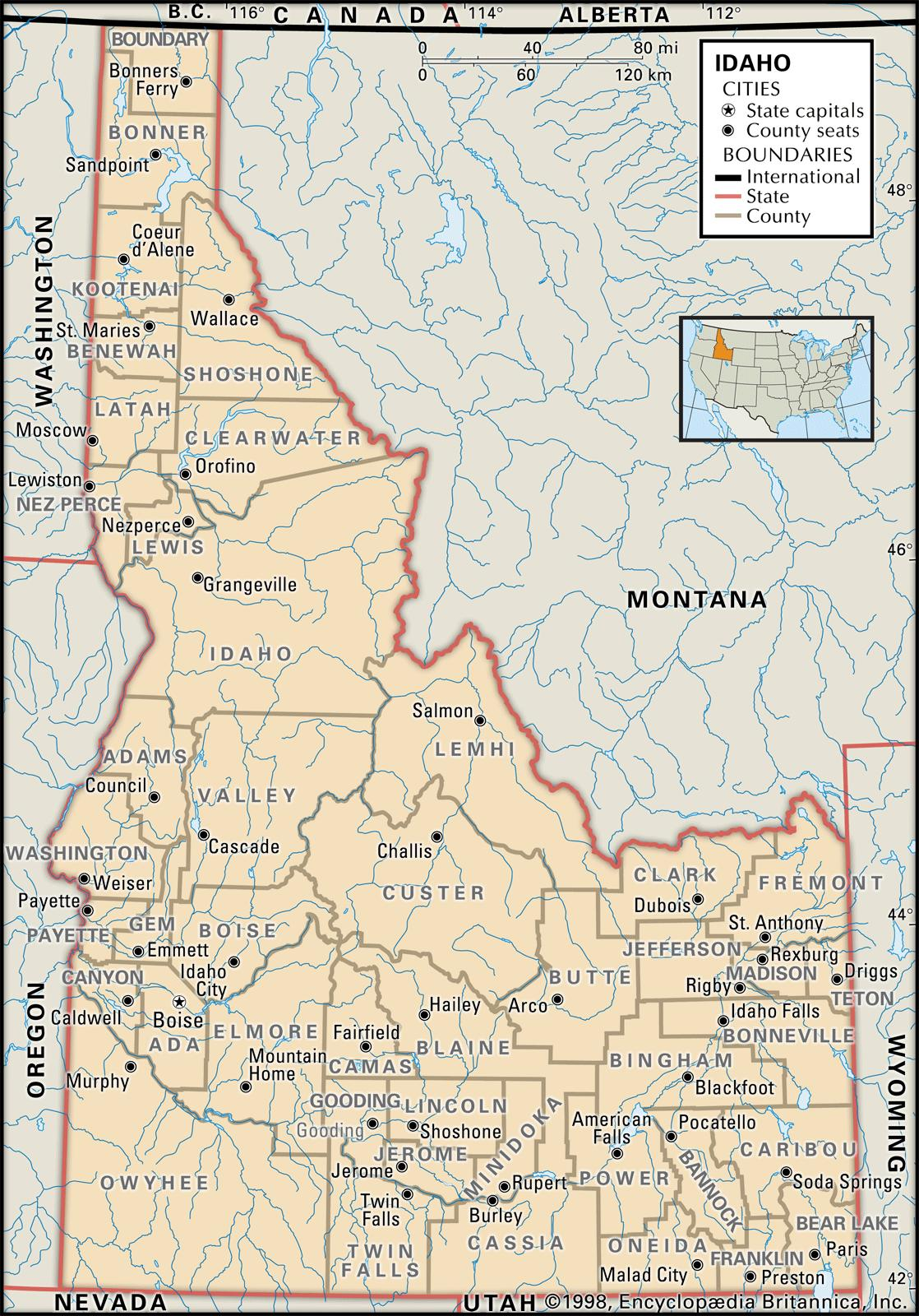 Idaho Counties Map State and County Maps of Idaho