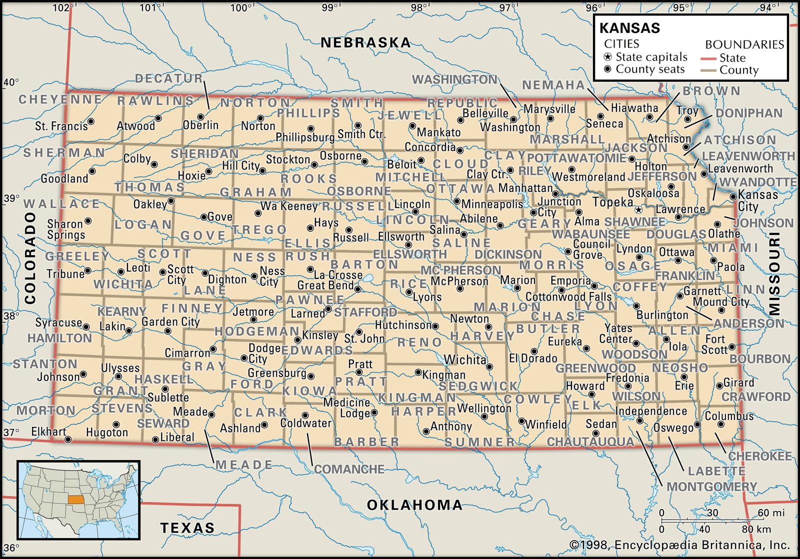 State and County Maps of Kansas