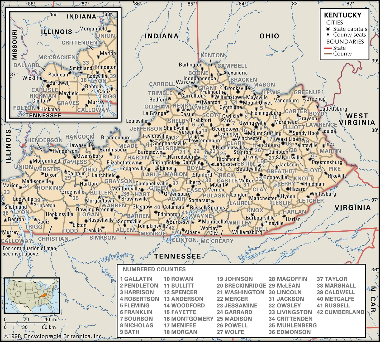 graphic regarding Printable Map of Kentucky Counties identified as Region and County Maps of Kentucky