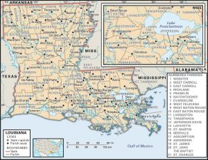 LA parish 300x231 Maps of Louisiana