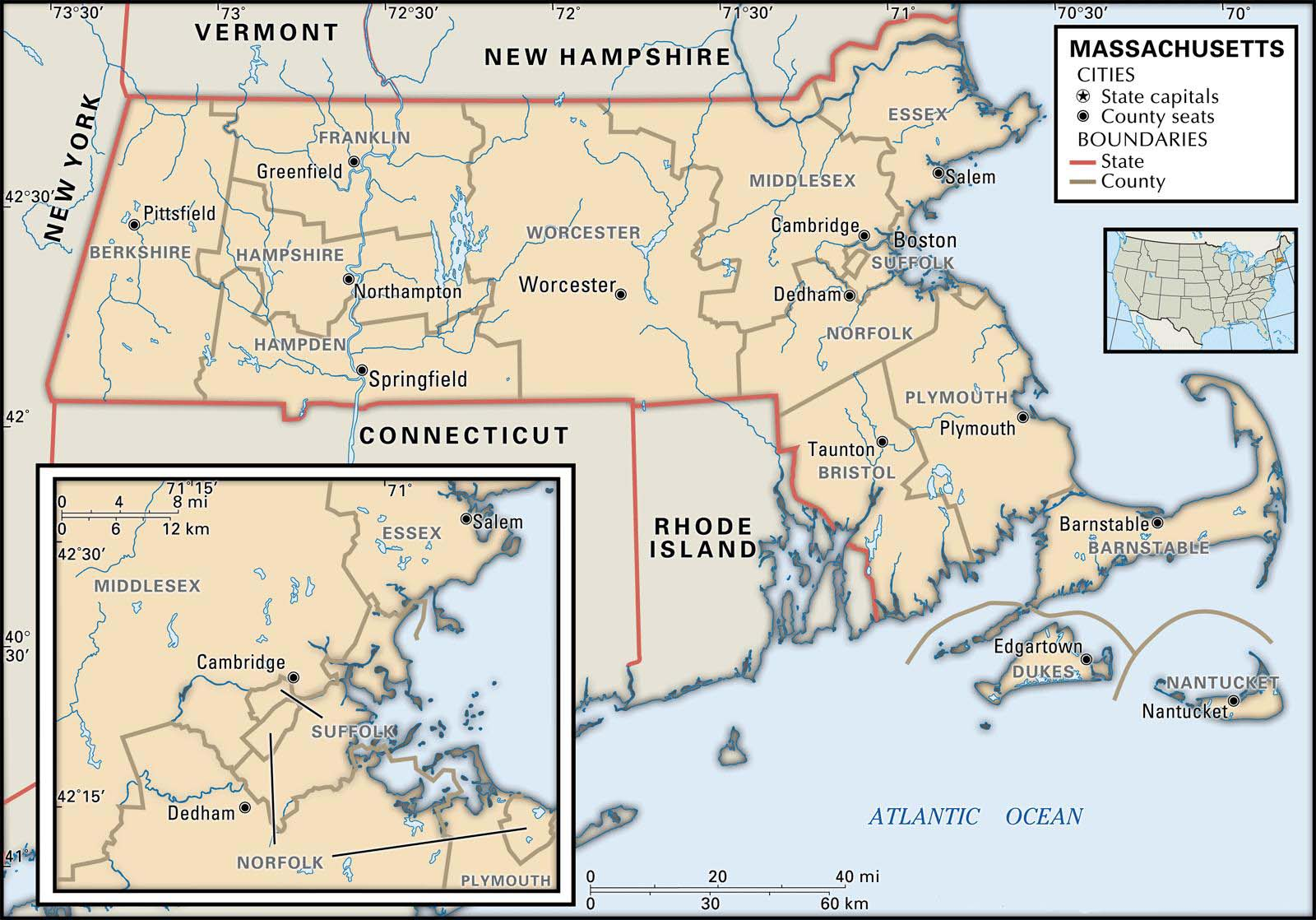 State And County Maps Of Massachusetts - Map of massachusetts