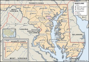 County Map of Maryland