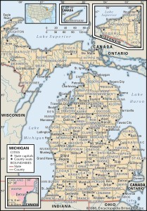 County Map of Michigan