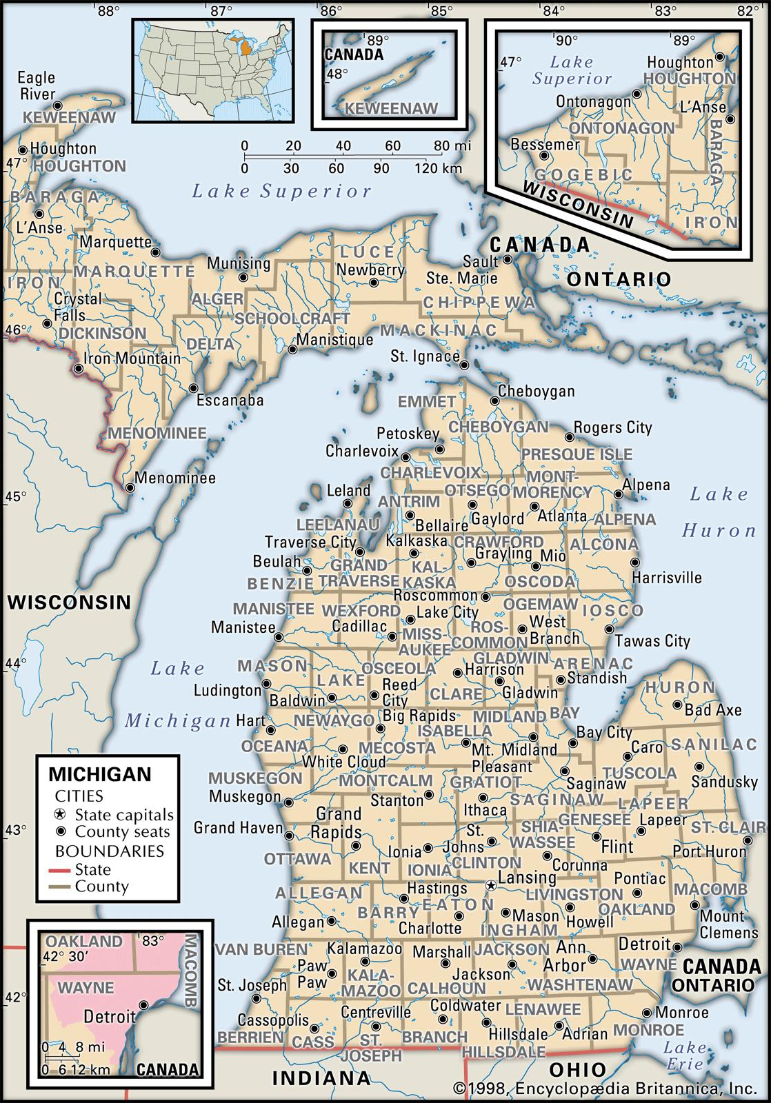 image regarding Printable Map of Michigan identified as Country and County Maps of Michigan