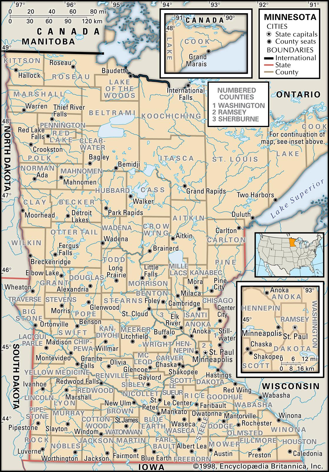 State And County Maps Of Minnesota - Political map of minnesota