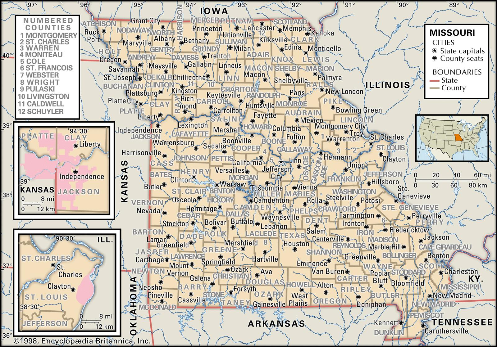 State And County Maps Of Missouri - Map of cities in missouri