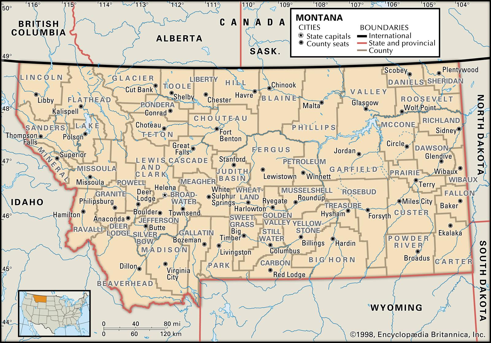 State And County Maps Of Montana - Map of montana with cities