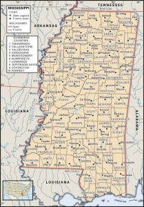 Map of Mississippi county boundaries and county seats.
