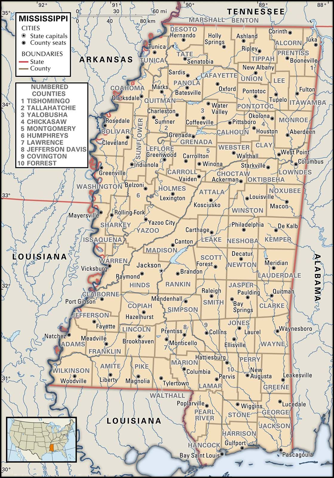 Map Of Mississippi County Boundaries And County Seats