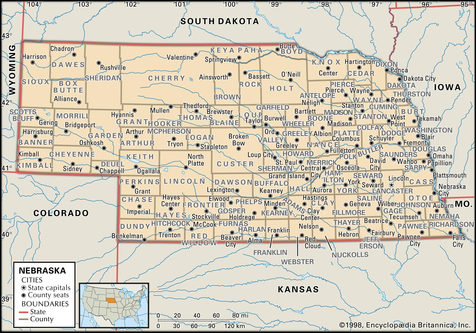 State And County Maps Of Nebraska - Map of nebraska towns