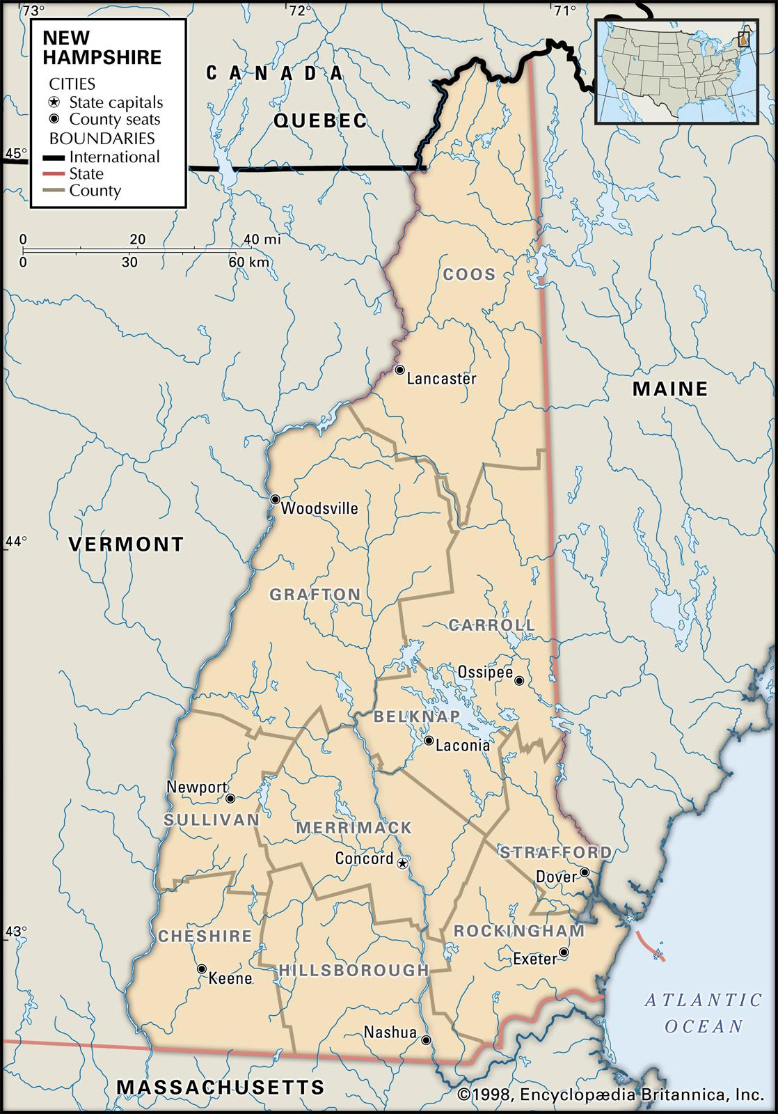 new hampshire map with towns State And County Maps Of New Hampshire new hampshire map with towns