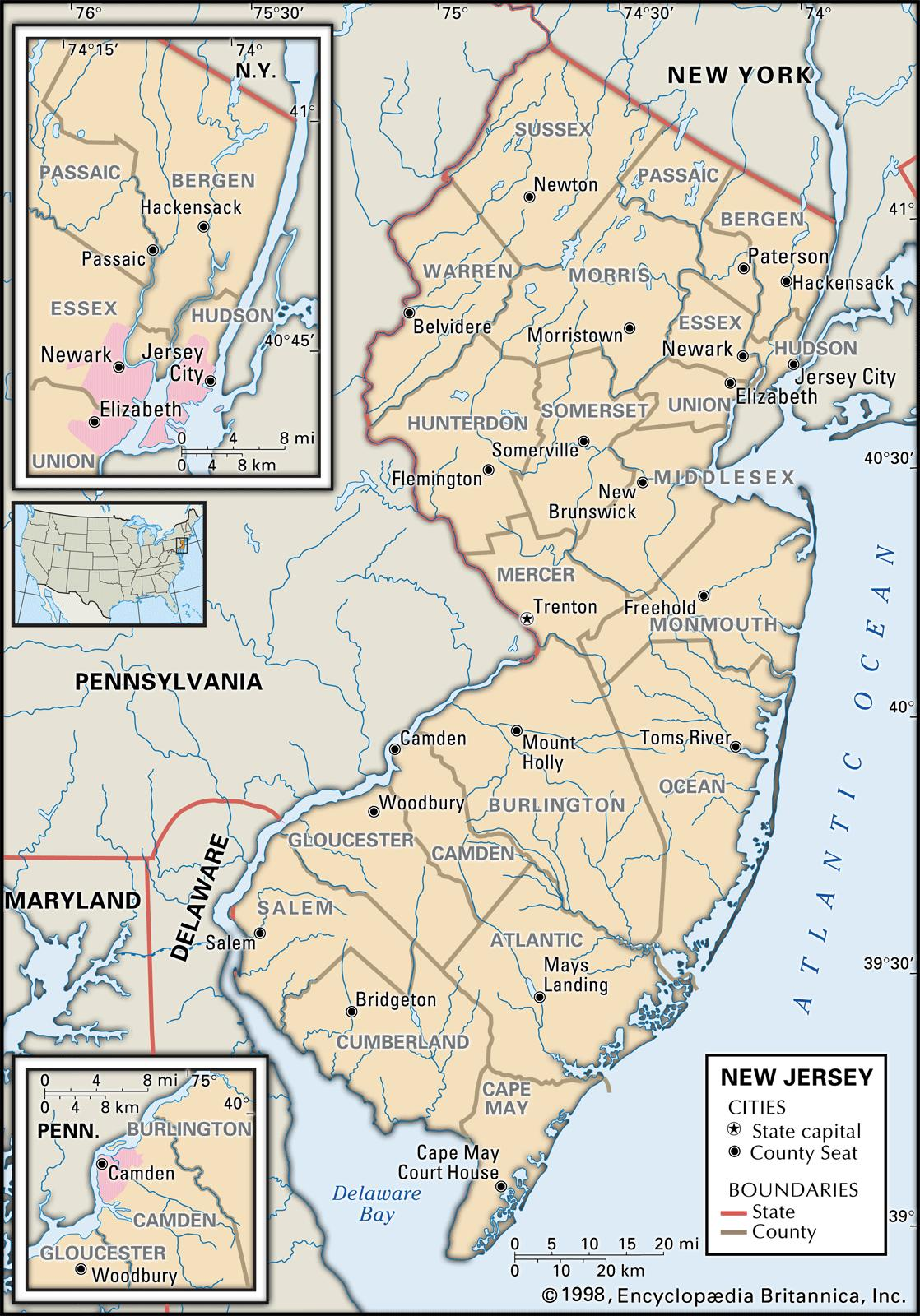 image relating to Printable Map of Nj identified as Place and County Maps of Contemporary Jersey