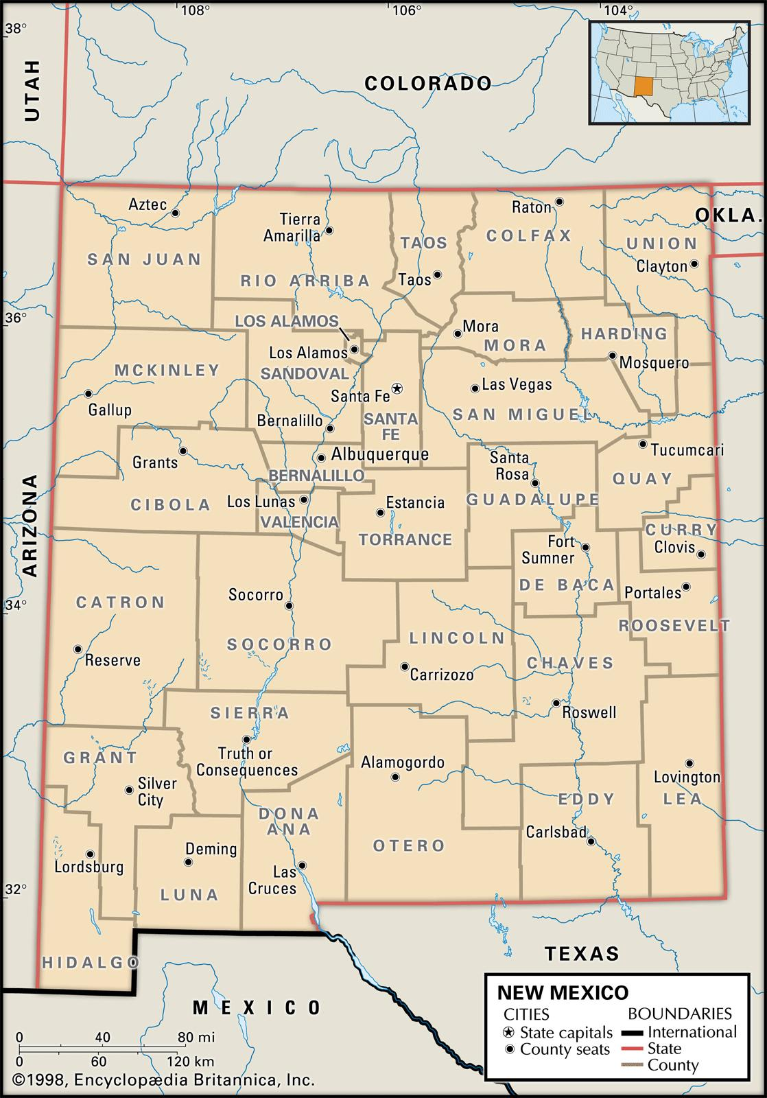 State And County Maps Of New Mexico - New mexico map with cities