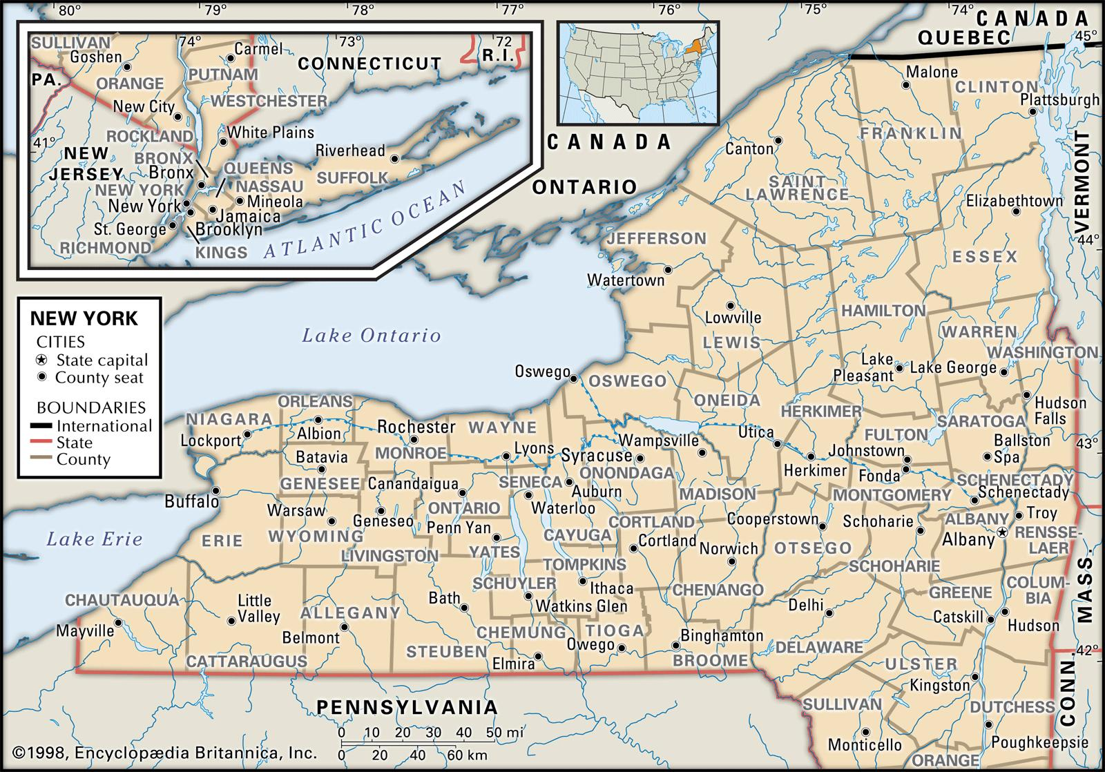 Political Map Of New York State Ezilon Maps CanadaUnited States - Us states map new york
