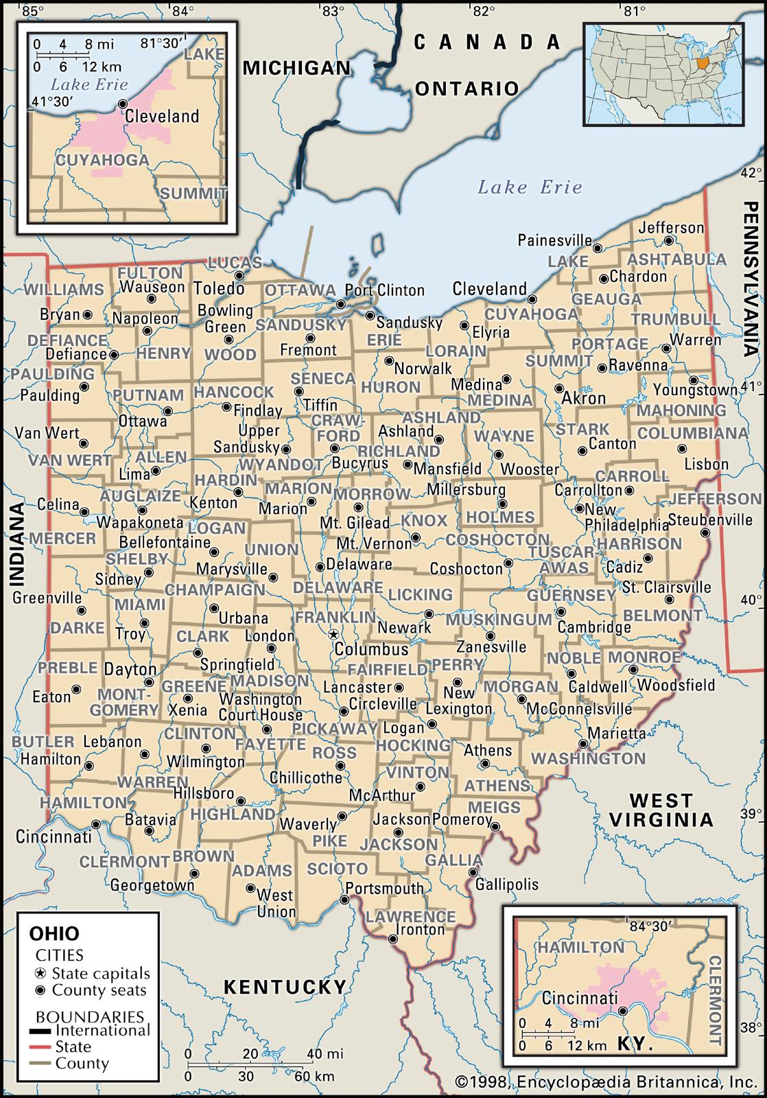State And County Maps Of Ohio - Cleveland ohio usa map