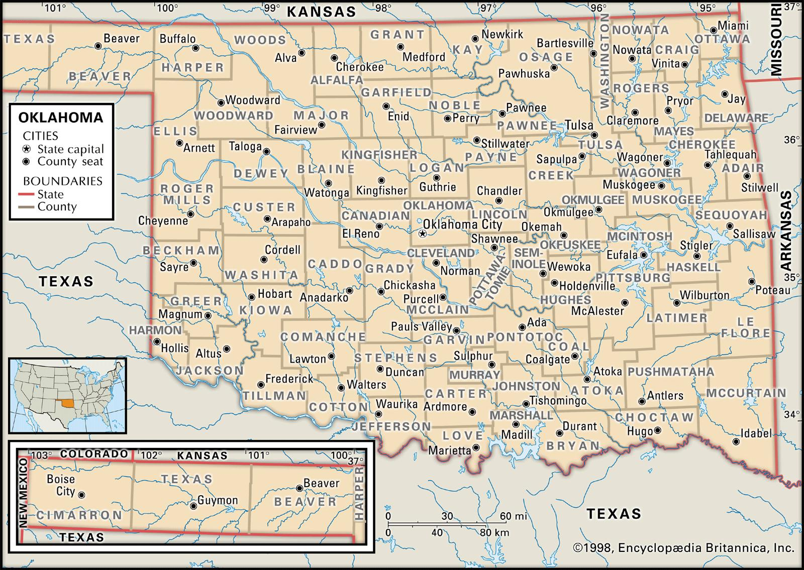 State And County Maps Of Oklahoma - Detailed map of texas cities and towns