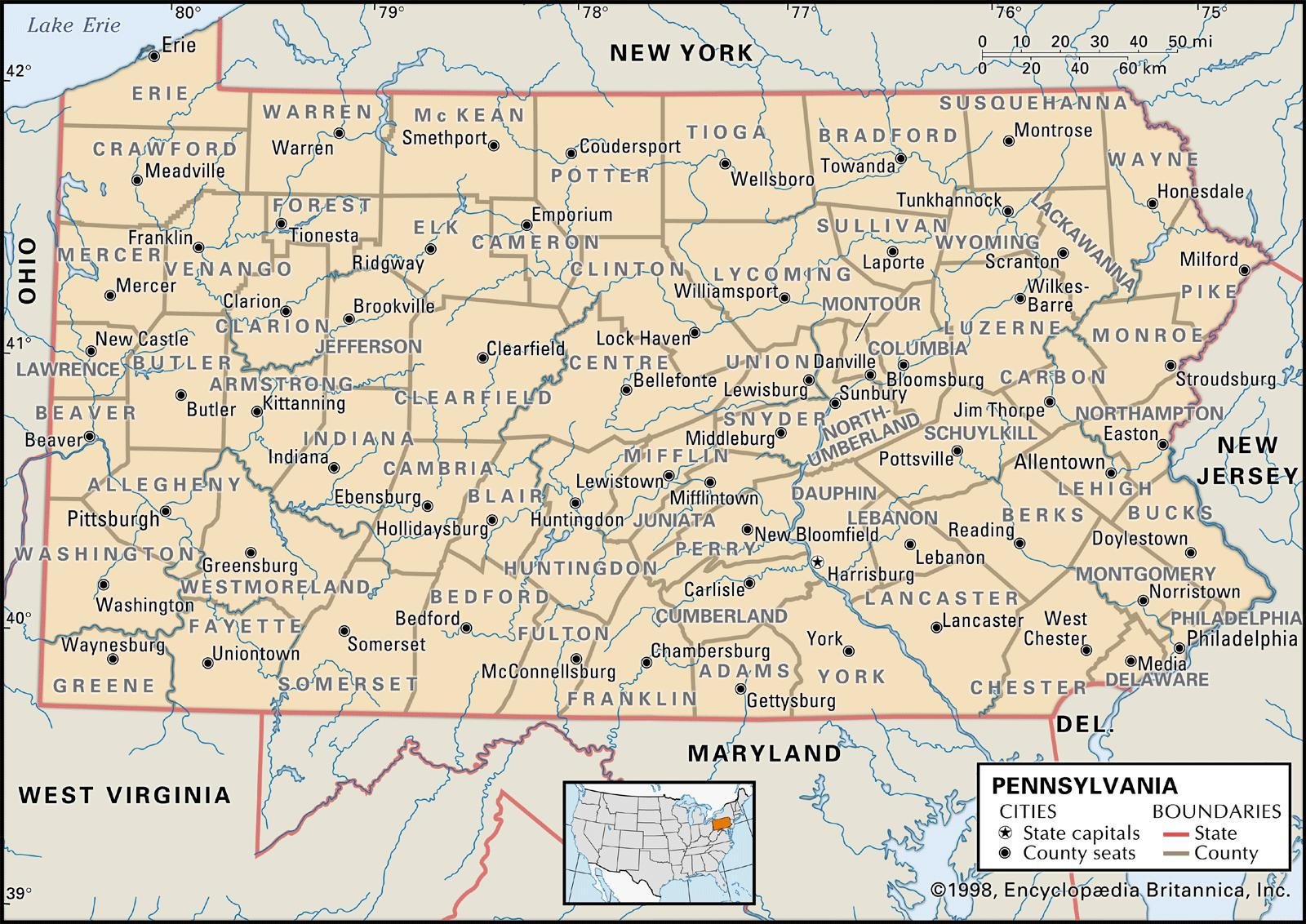 State And County Maps Of Pennsylvania - Map of us pennsylvania