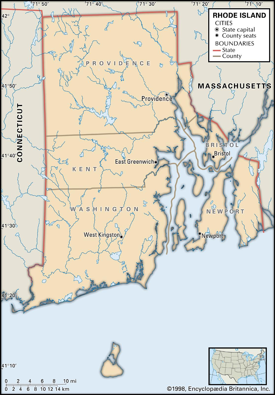 State and County Maps of Rhode Island