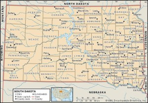 Map of South Dakota Counties