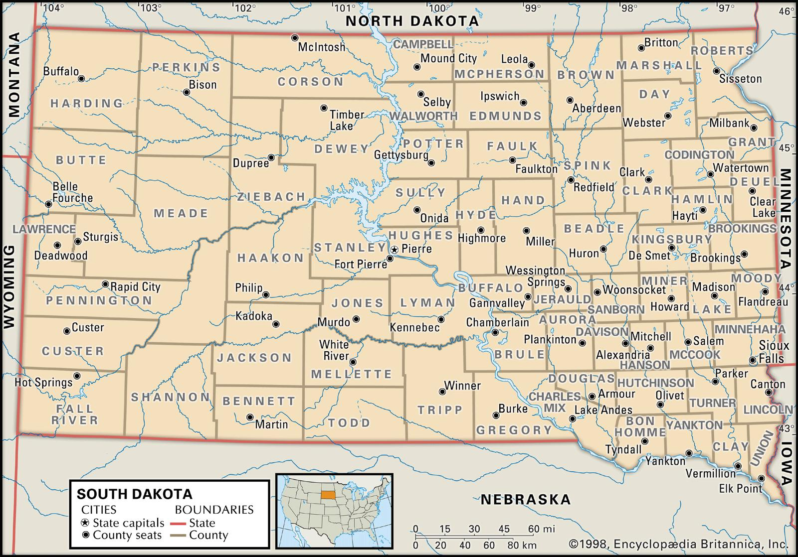 State And County Maps Of South Dakota - Us map with south dakota
