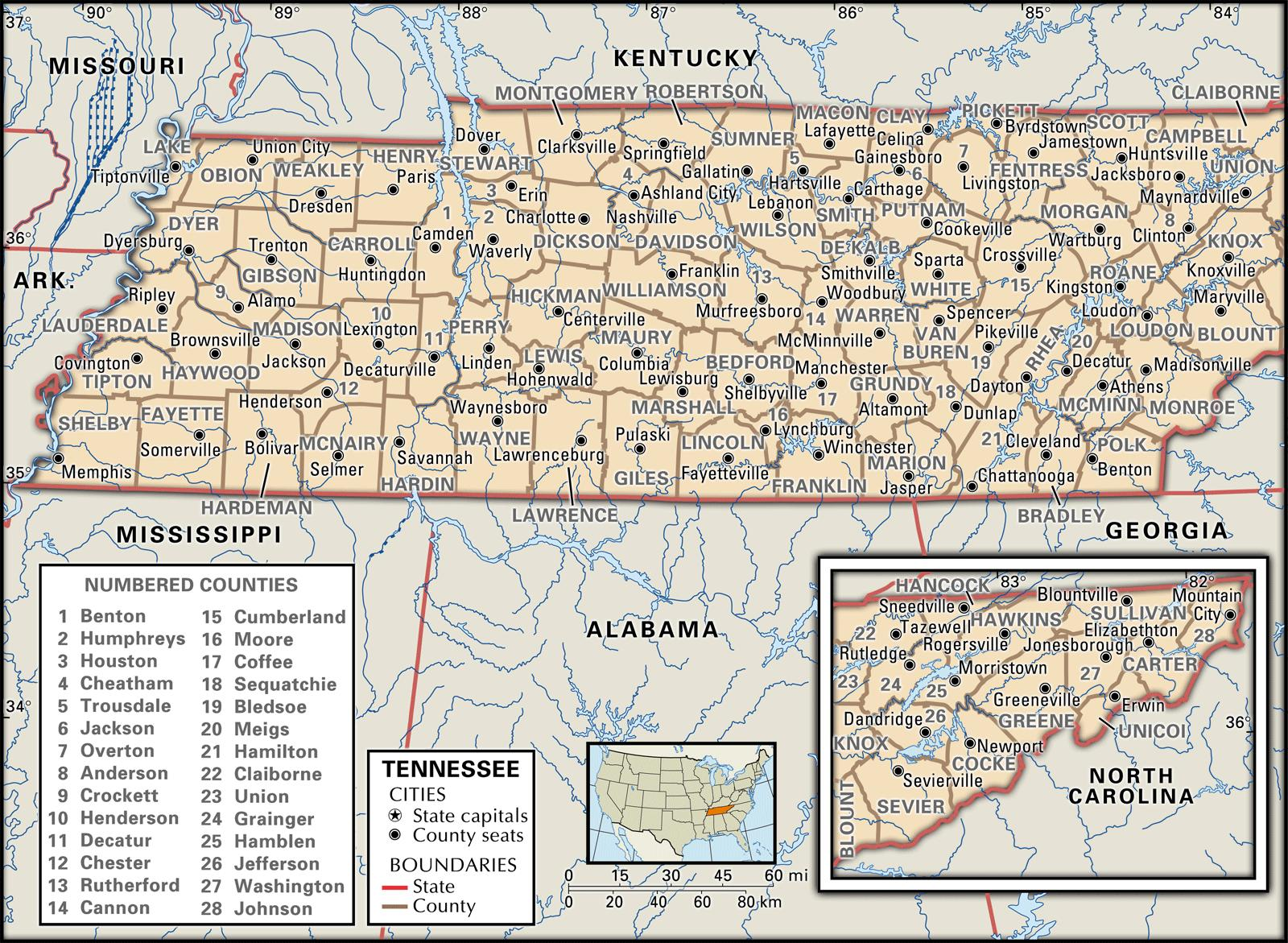 State And County Maps Of Tennessee - Map of counties in tennessee