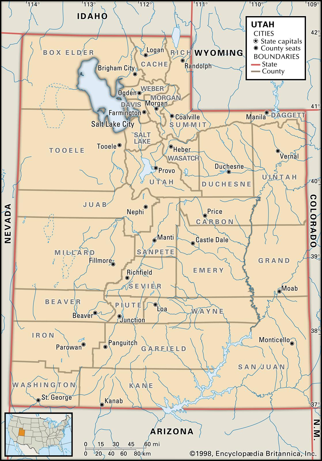 State And County Maps Of Utah
