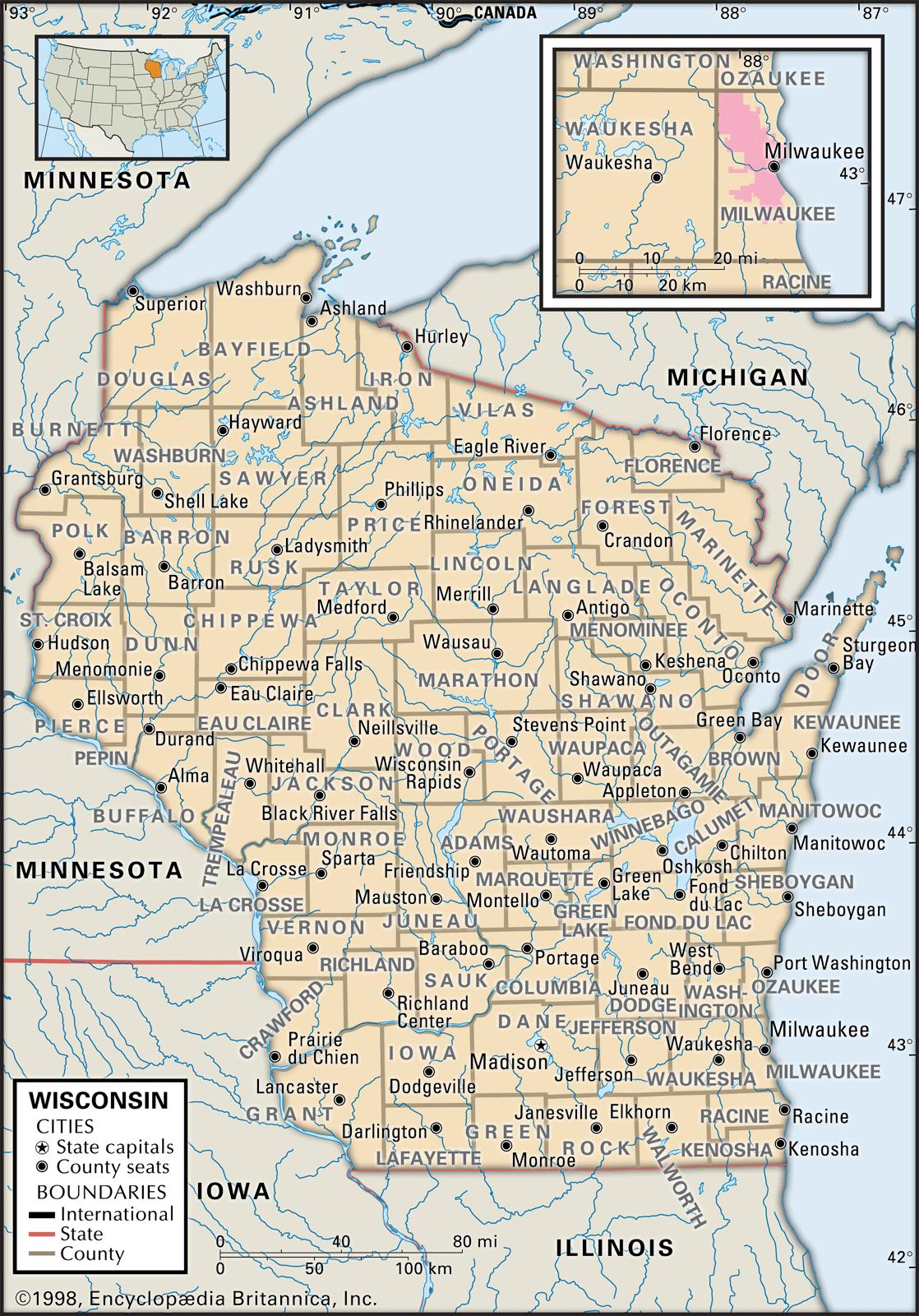 State and County Maps of Wisconsin