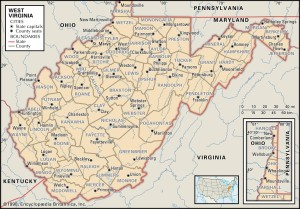 Map of West Virginia Counties