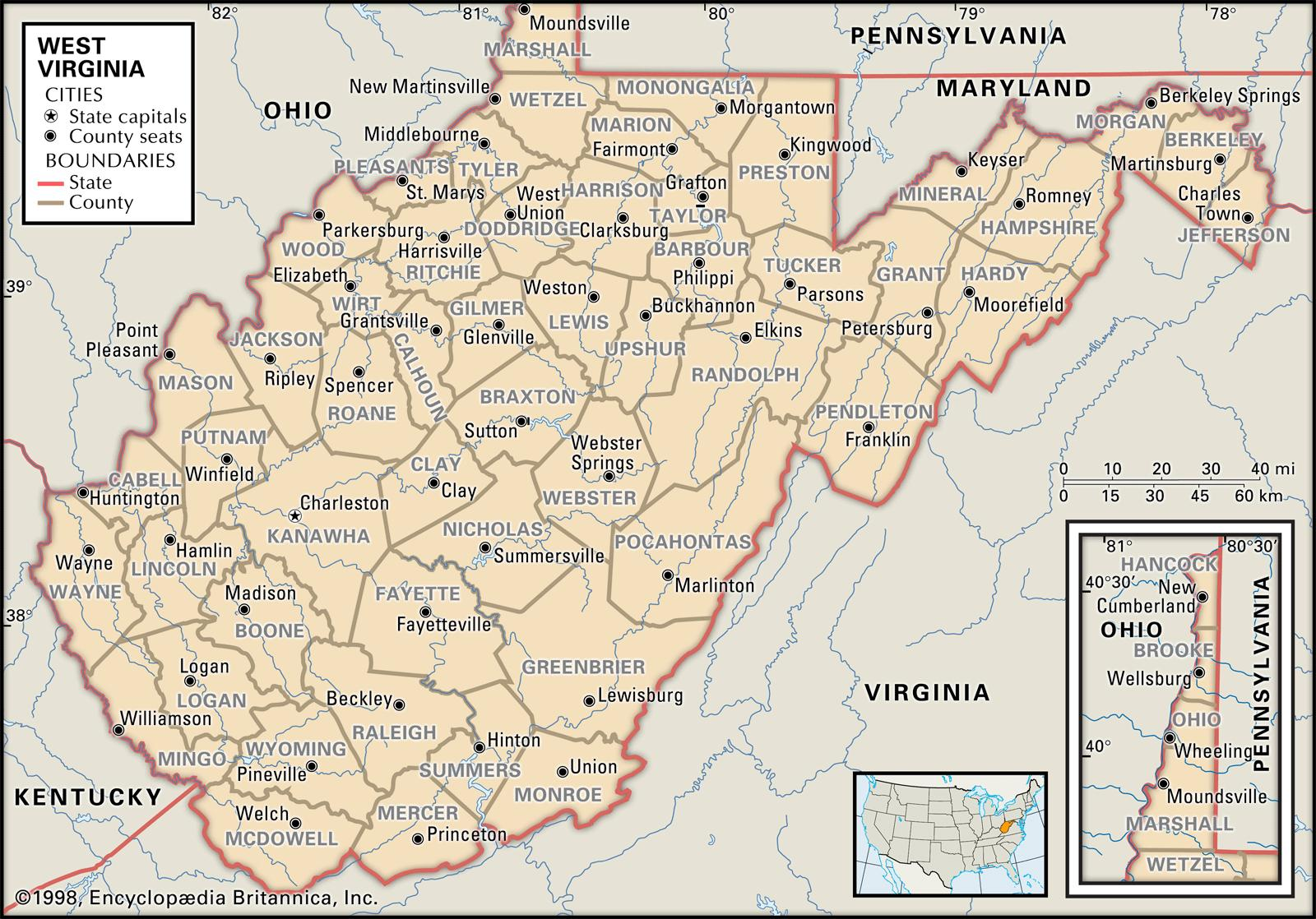 State And County Maps Of West Virginia - Map of va cities