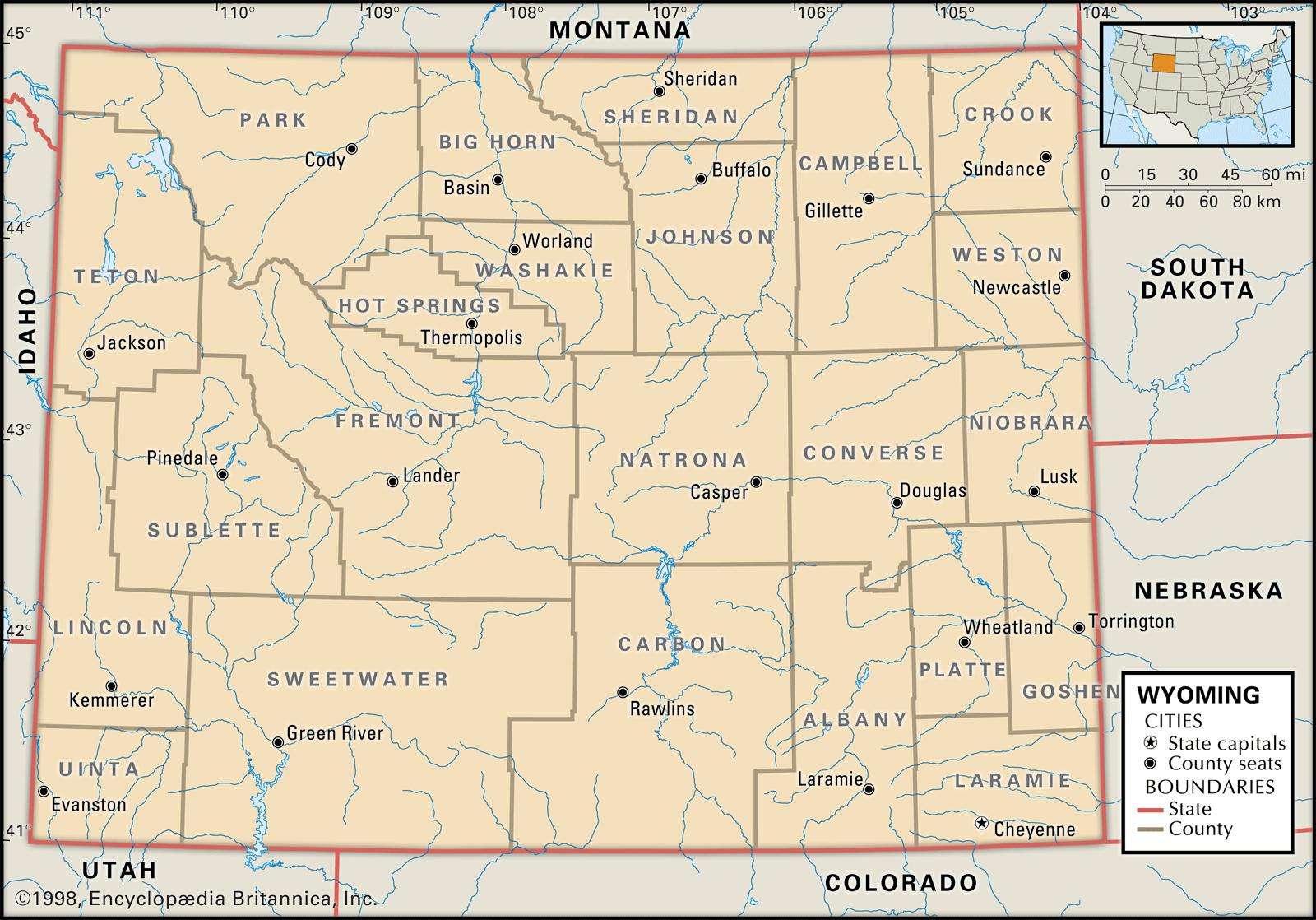 State And County Maps Of Wyoming - Wyoming map with cities