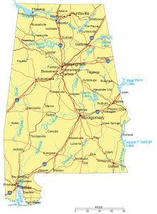 Detailed Alabama State map with Capitals, Major Cities, Interstates, Roads, Railroads, Rivers and Lakes