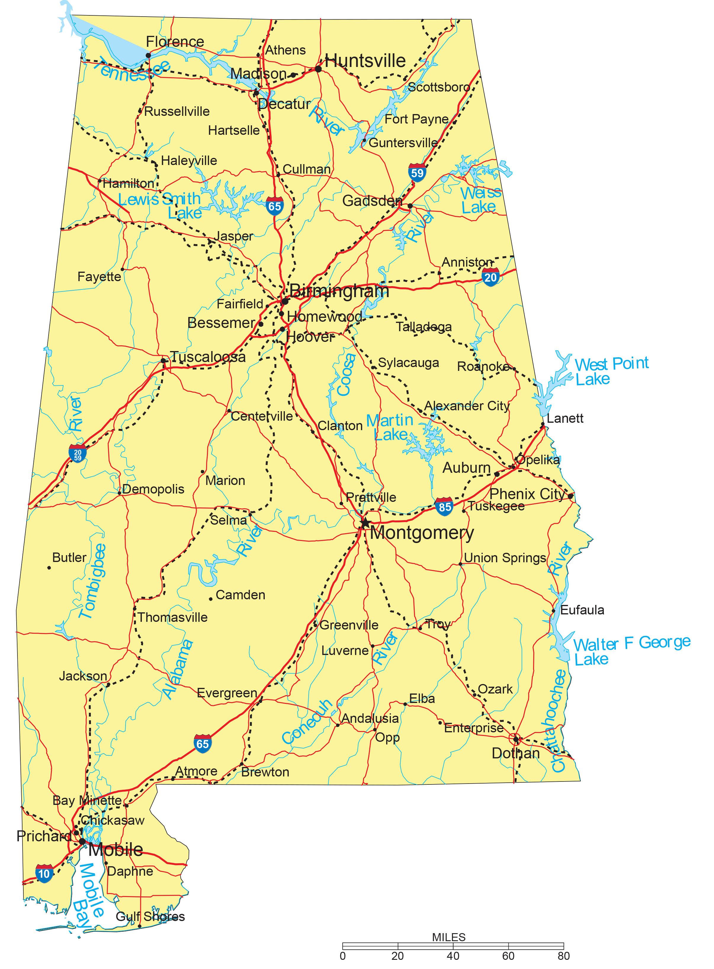 Detailed Alabama State Map With Capitals Major Cities Interstates Roads Railroads