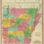 1836 Map Of Arkansas with its Canals, Roads & Distances