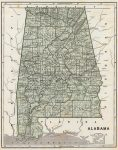 1845 Atlas Map of Alabama