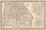 1880 County map of the states of Georgia and Alabama