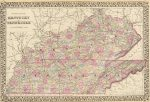 1880 County Map of Kentucky and Tennessee